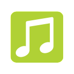 Kids City music icon for website in green